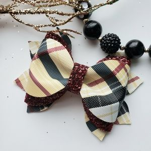 Leather hair bow, 5 inches